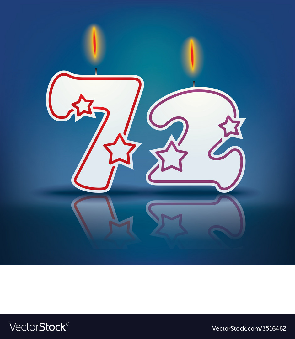 Birthday candle number 72 vector | Price: 1 Credit (USD $1)