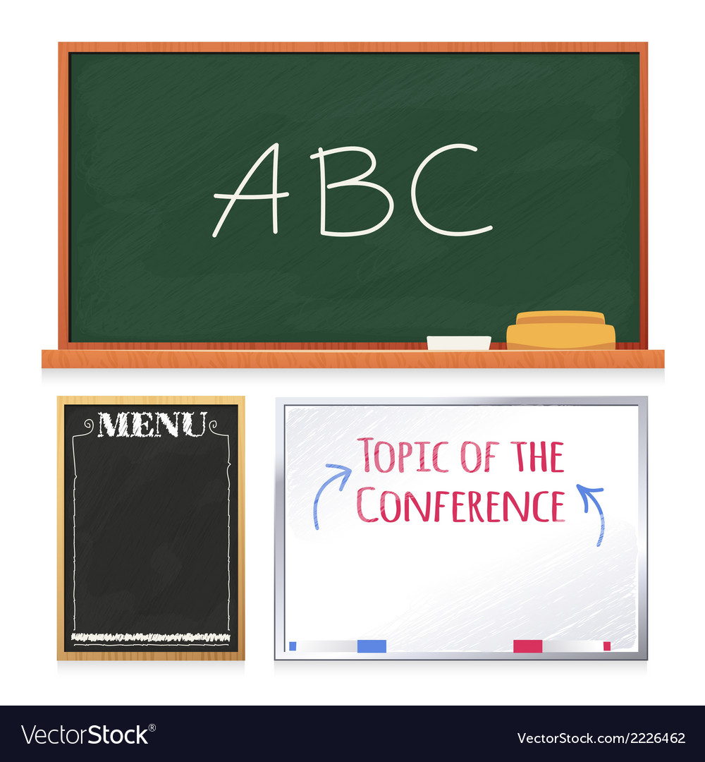 Chalkboards set isolated on white background vector | Price: 1 Credit (USD $1)