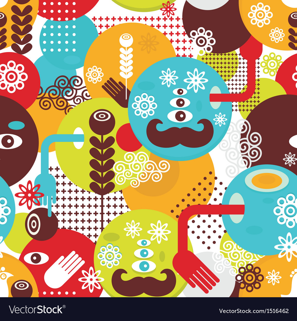 Colorful spring monsters seamless pattern vector | Price: 1 Credit (USD $1)