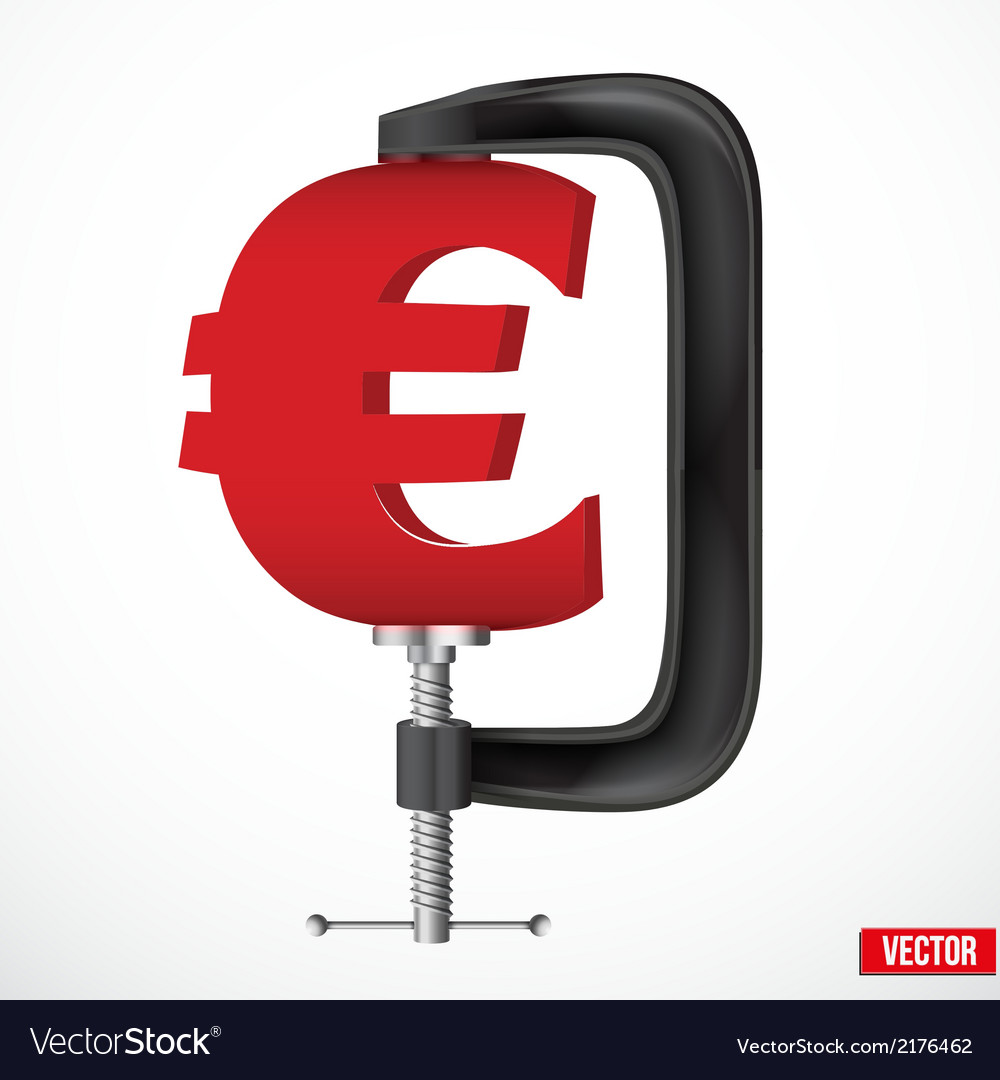 Currency symbol euro being squeezed in a vice vector | Price: 1 Credit (USD $1)