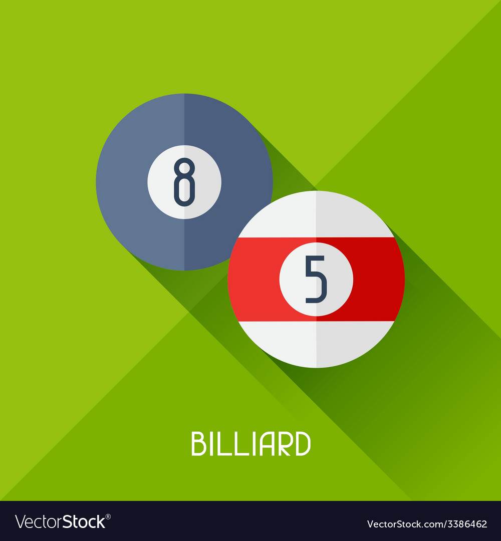 Game with billiard in flat design style vector | Price: 1 Credit (USD $1)