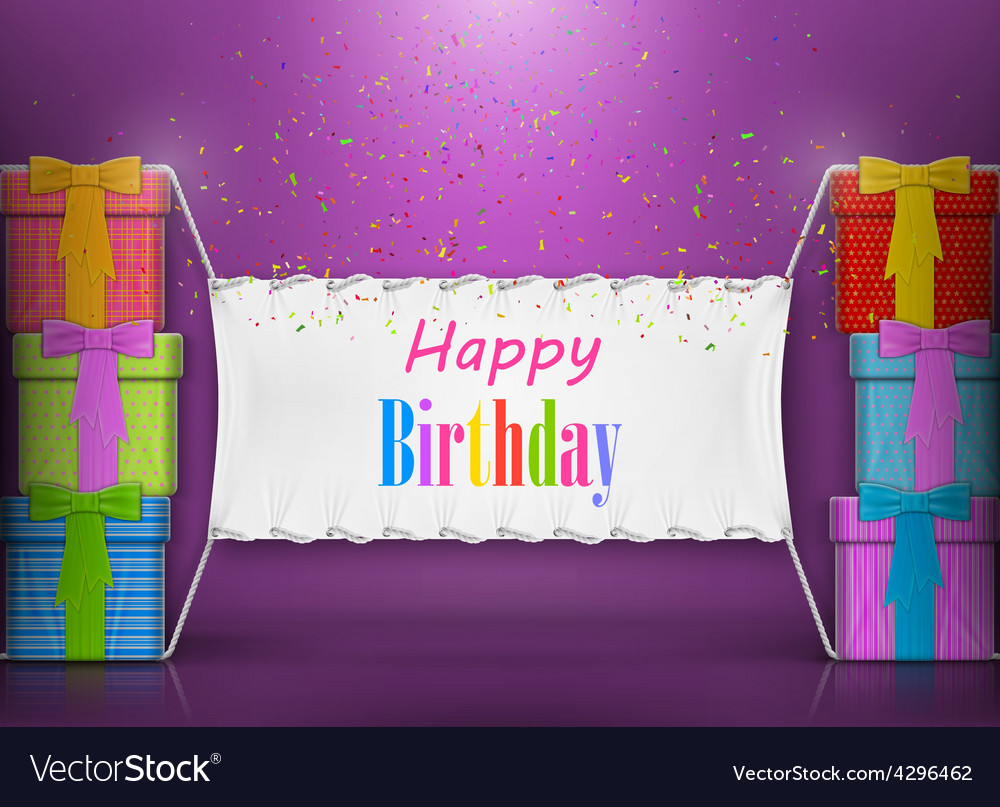 Happy birthday banner abstract design vector | Price: 3 Credit (USD $3)