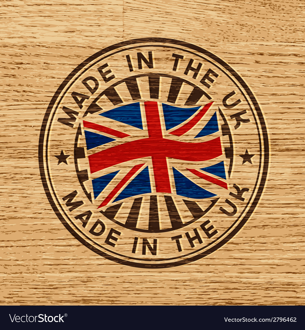 Made in the uk stamp on wooden background vector | Price: 1 Credit (USD $1)