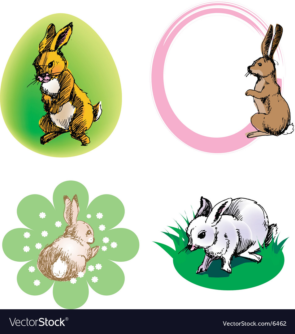 Rabbit border vector | Price: 3 Credit (USD $3)