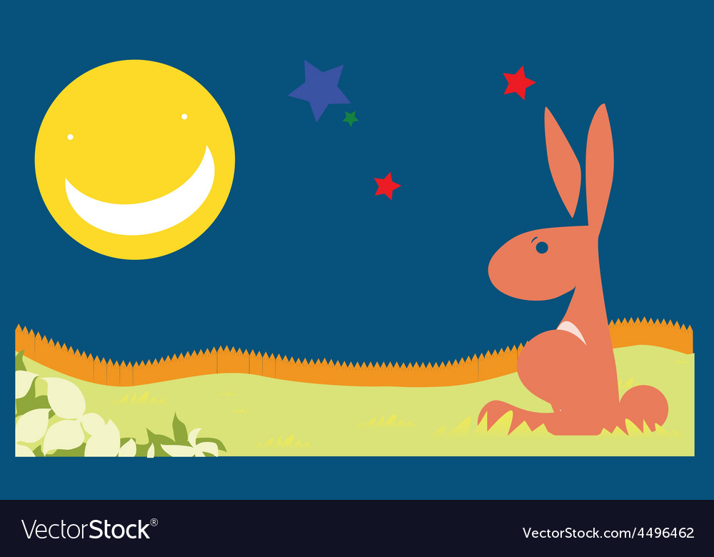 Rabbit poster night vector | Price: 1 Credit (USD $1)
