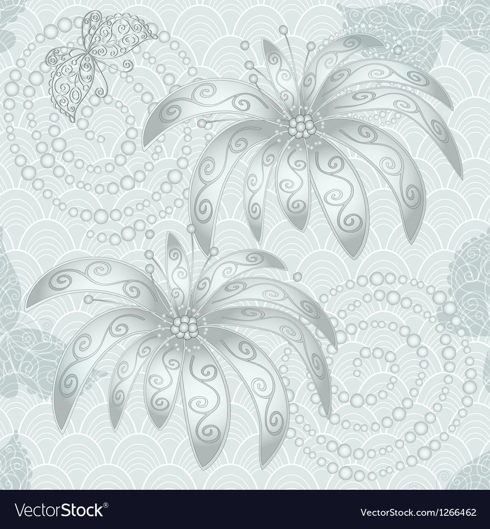 Silvery vintage seamless pattern vector | Price: 1 Credit (USD $1)