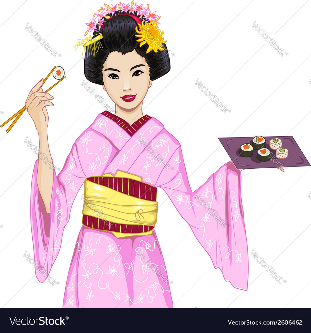 Young beautiful japanese woman in kimono enjoys vector | Price: 1 Credit (USD $1)