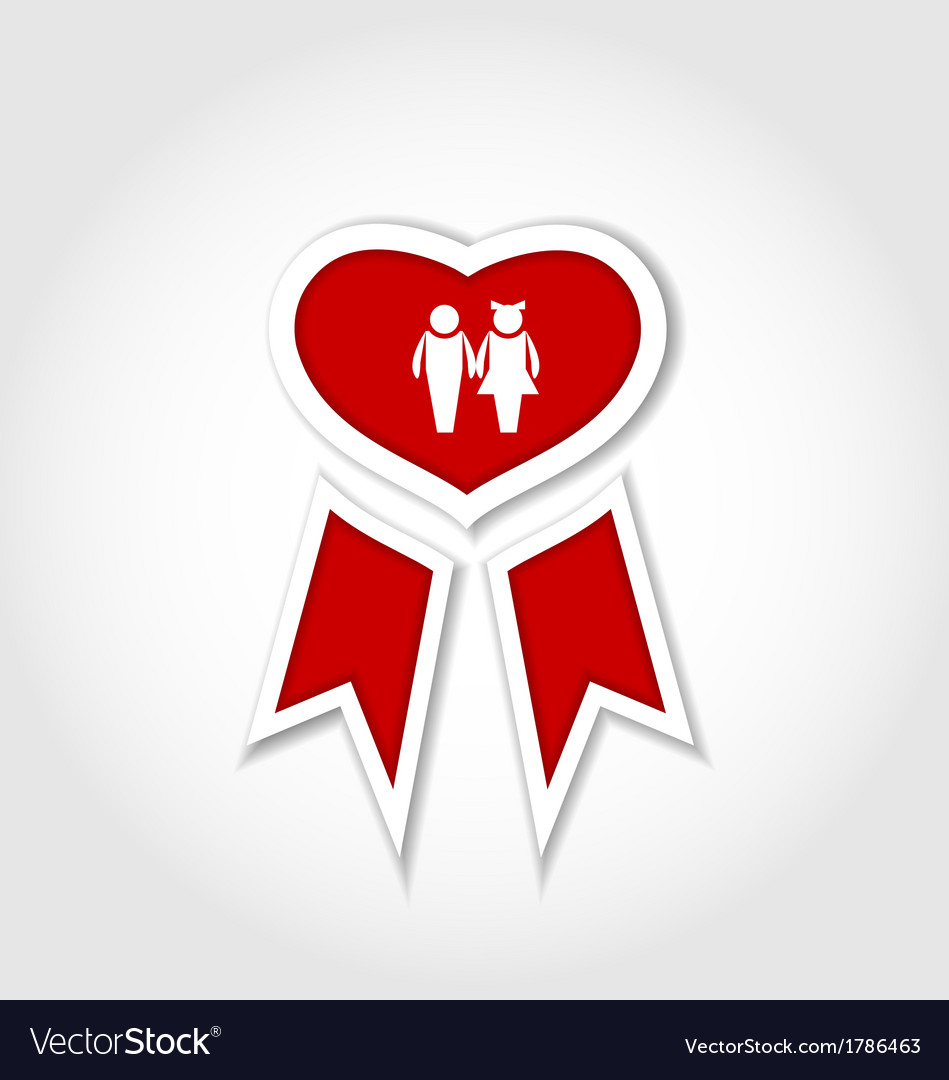 Award ribbon with human icons for valentines day vector   Price: 1 Credit (USD $1)