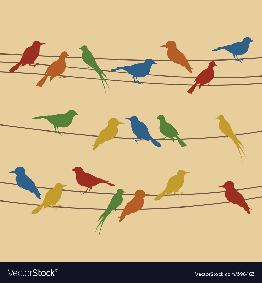 Birds sit on wires vector | Price: 1 Credit (USD $1)