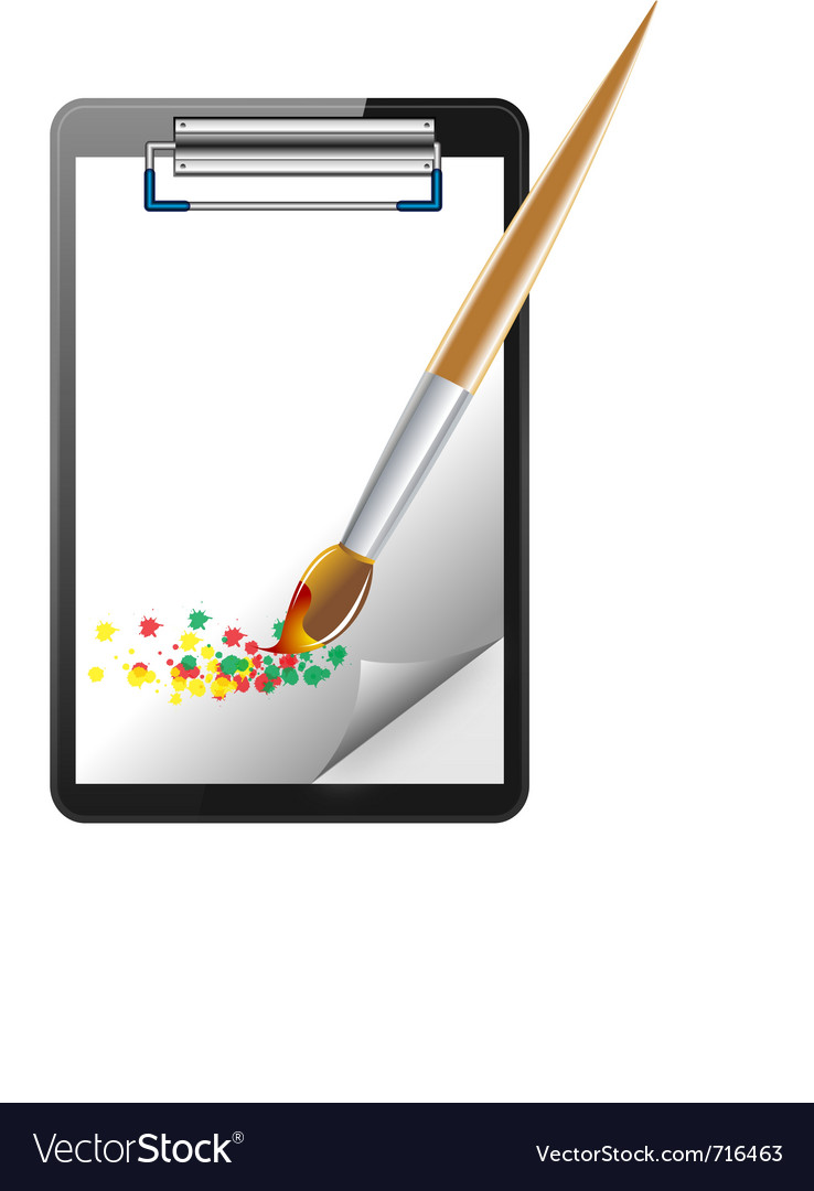 Clipboard and paintbrush vector | Price: 1 Credit (USD $1)