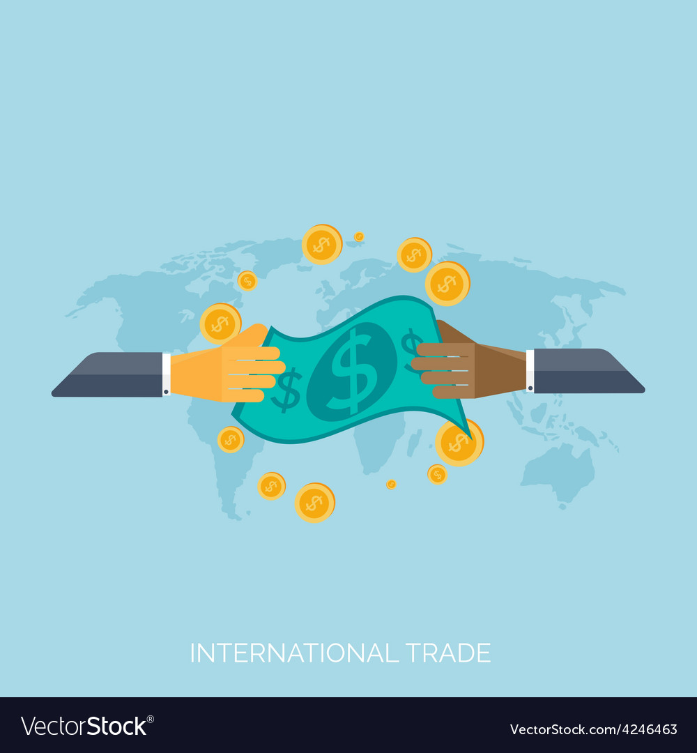 Flat hands global international trading concept vector | Price: 1 Credit (USD $1)