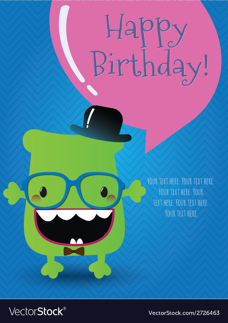 Hipster monster birthday card vector | Price: 1 Credit (USD $1)