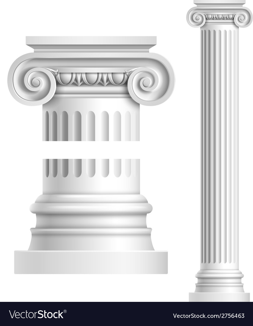Realistic white antique column vector | Price: 1 Credit (USD $1)