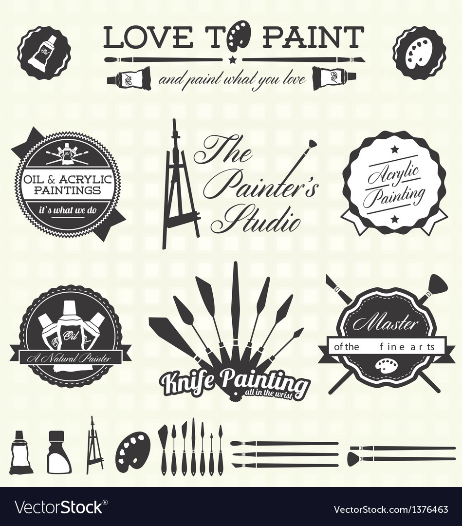 Retro artist and painter labels and icons vector | Price: 3 Credit (USD $3)