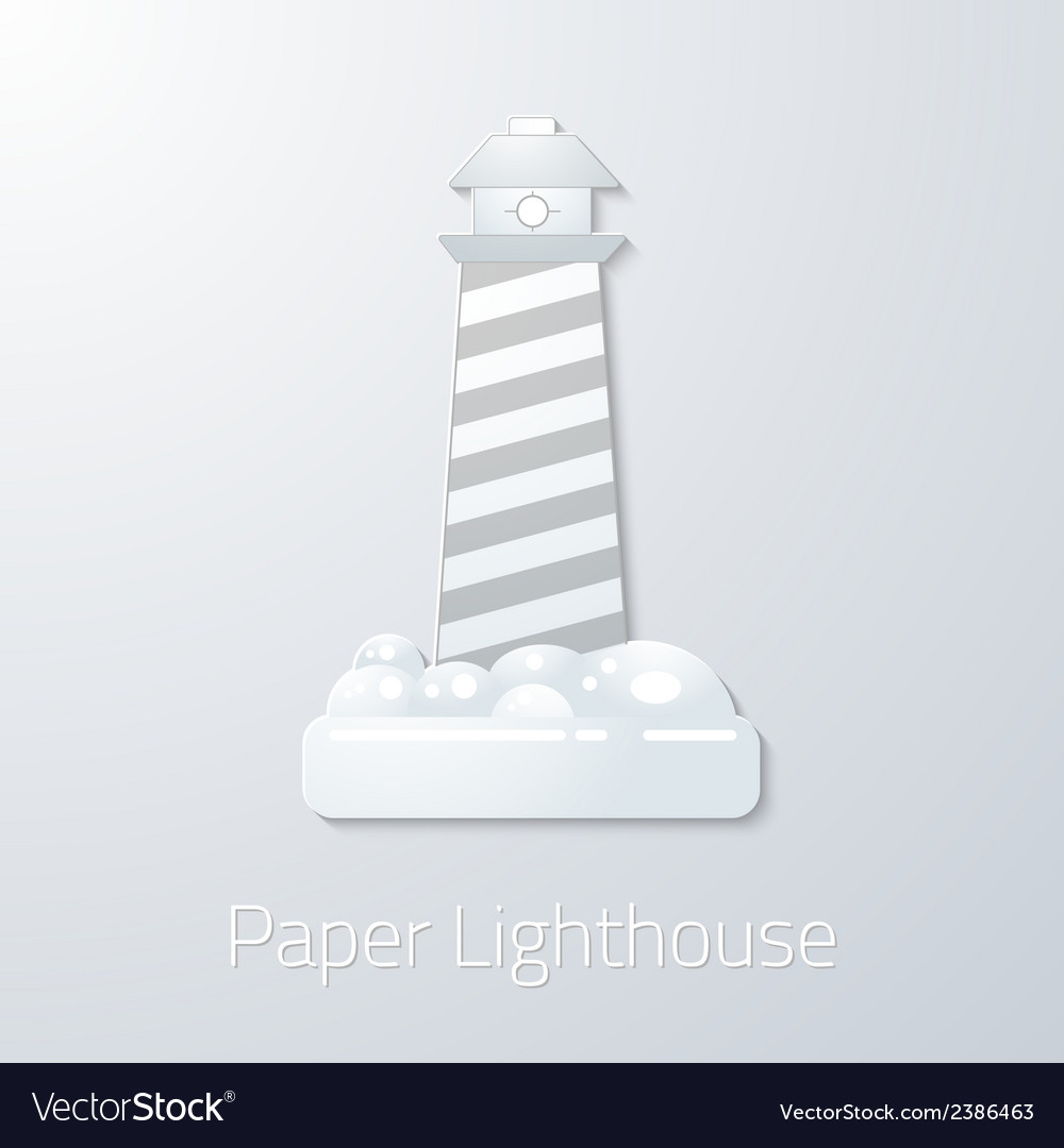 Travel paper lighthouse flat icon vector | Price: 1 Credit (USD $1)