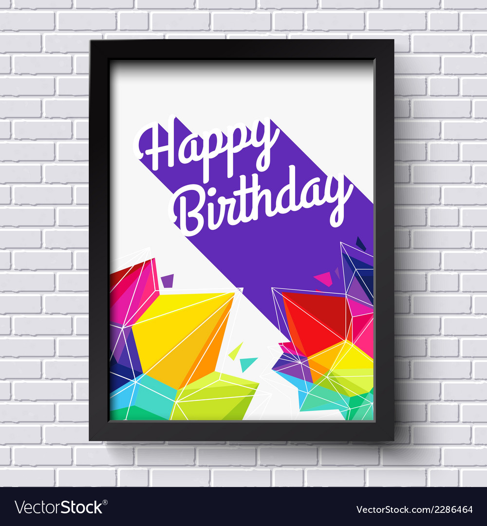 Abstract happy birthday card black frame on brick vector | Price: 1 Credit (USD $1)