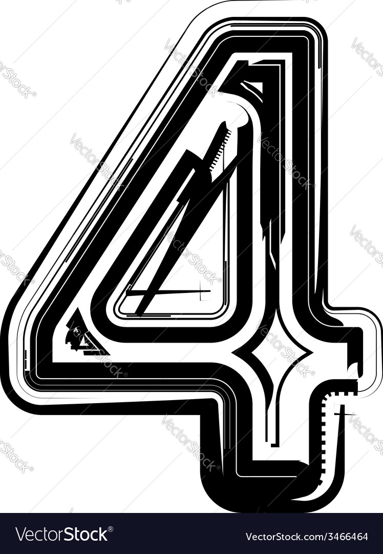 Abstract number 4 vector | Price: 1 Credit (USD $1)