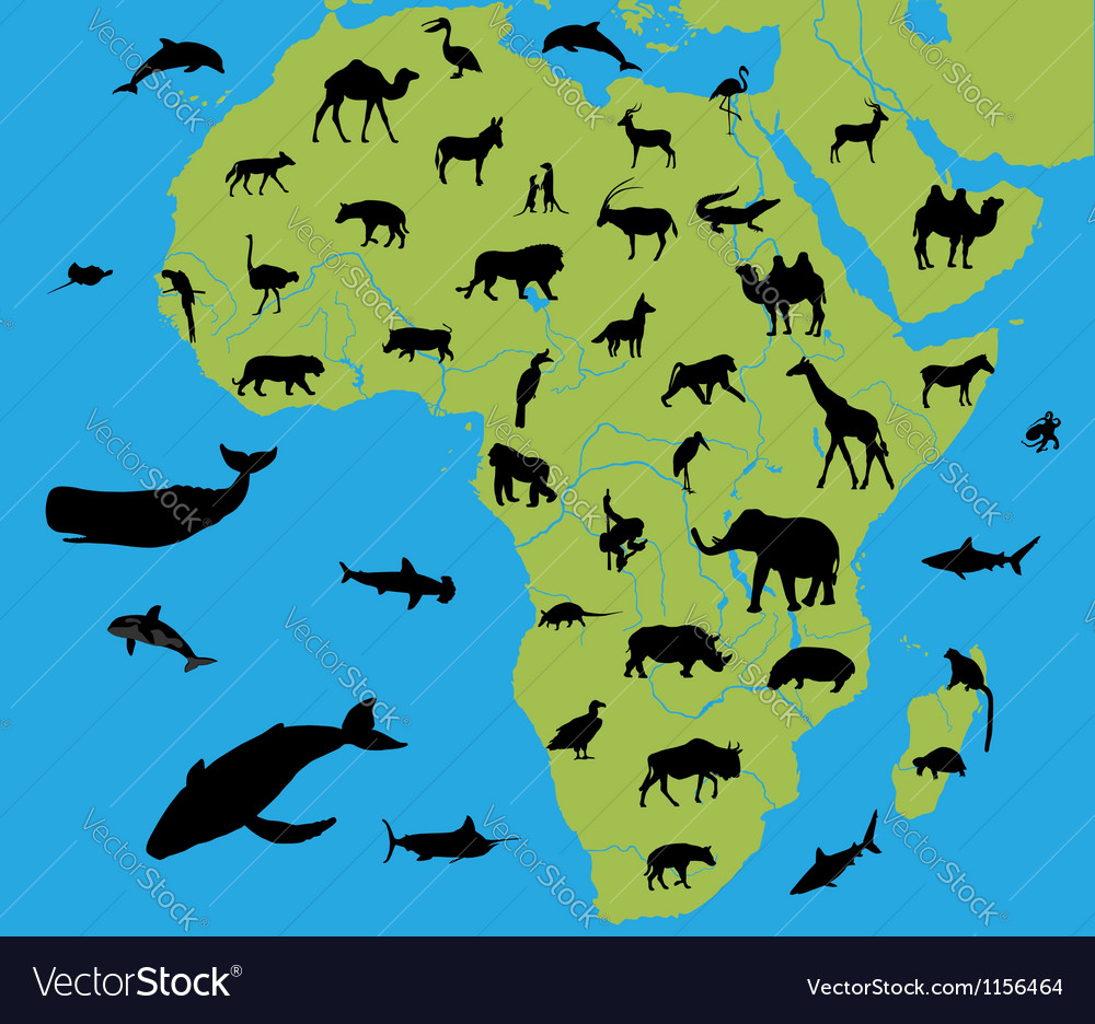 Animals on the map of africa vector | Price: 1 Credit (USD $1)