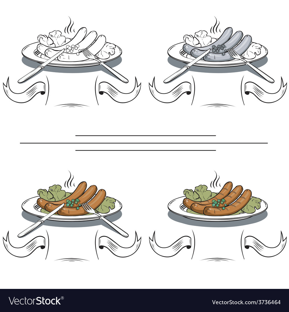 Cooked sausages on the grill vector | Price: 1 Credit (USD $1)