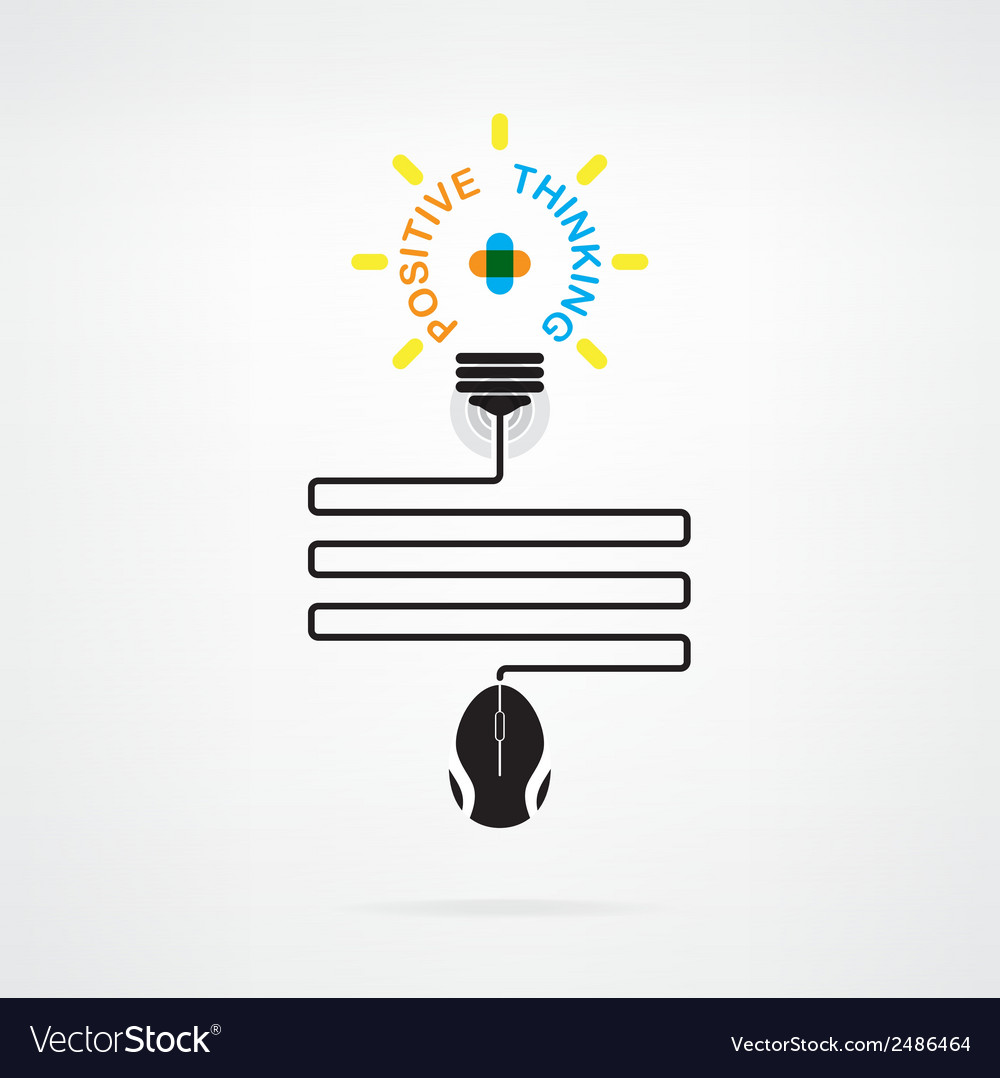 Creative light bulb idea and positive thinking vector | Price: 1 Credit (USD $1)