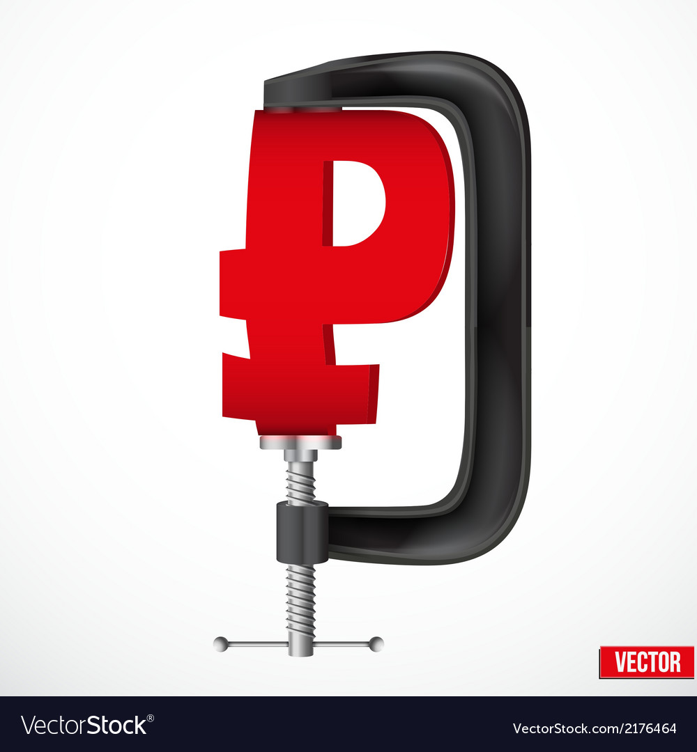 Currency symbol ruble being squeezed in a vice vector   Price: 1 Credit (USD $1)
