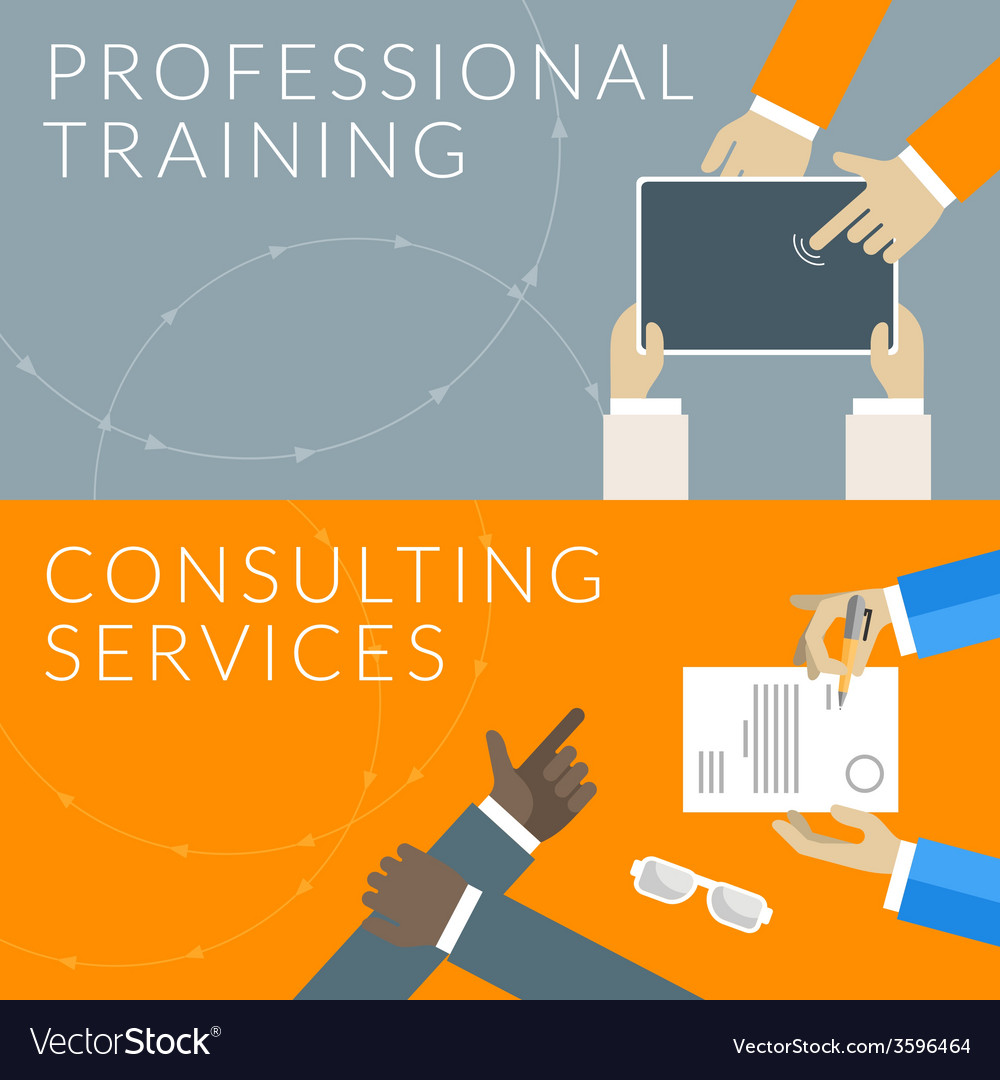 Flat design concept for professional training and vector | Price: 1 Credit (USD $1)