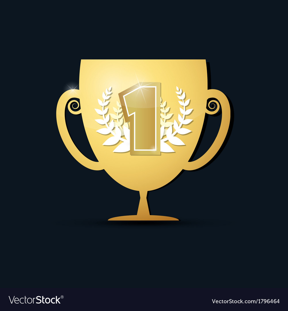 Gold trophy cup on dark background vector   Price: 1 Credit (USD $1)