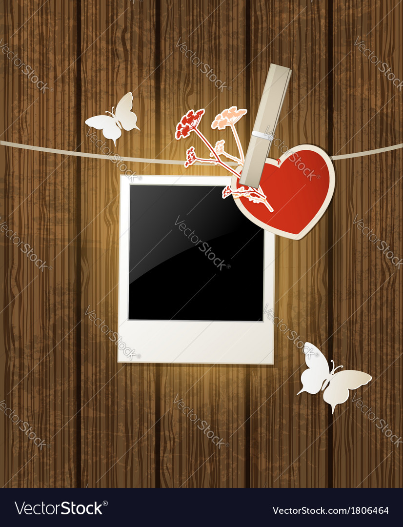 Photo and red heart for valentines day vector | Price: 1 Credit (USD $1)