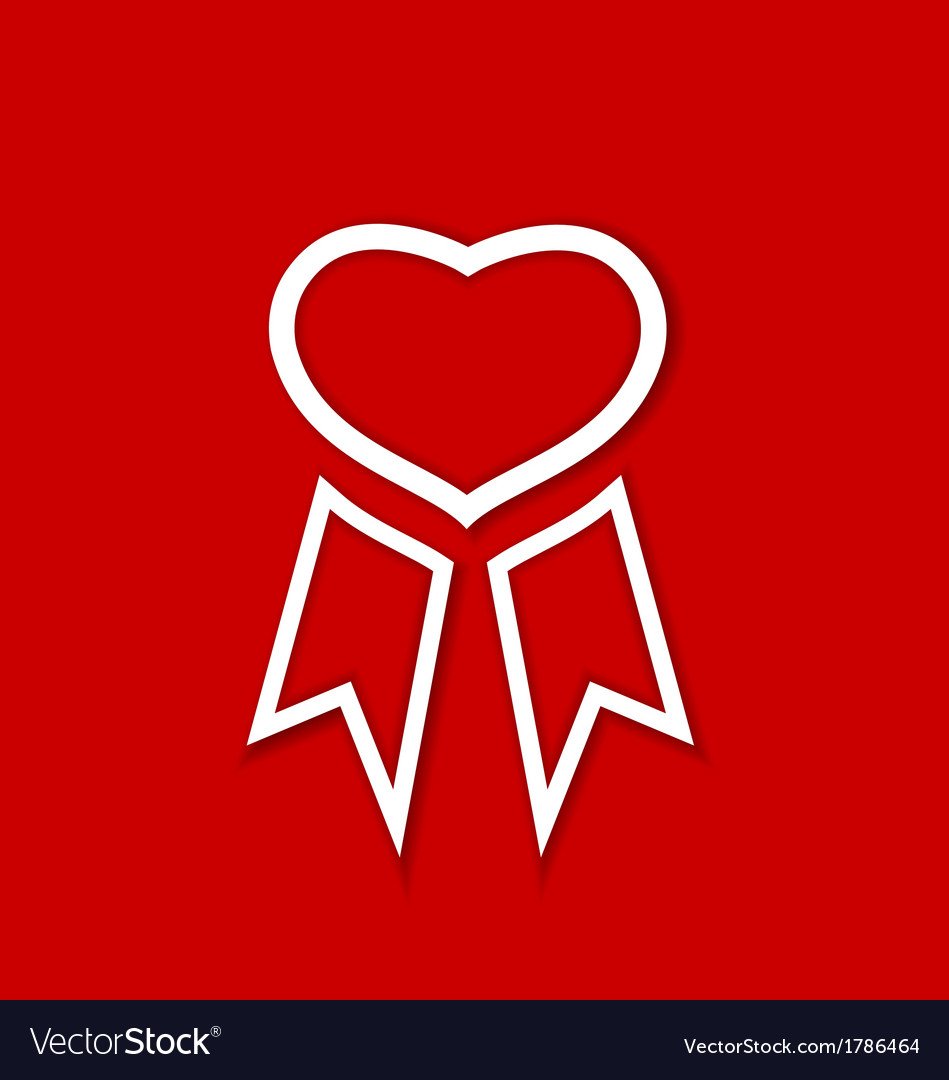 Red award ribbon for valentines day vector | Price: 1 Credit (USD $1)