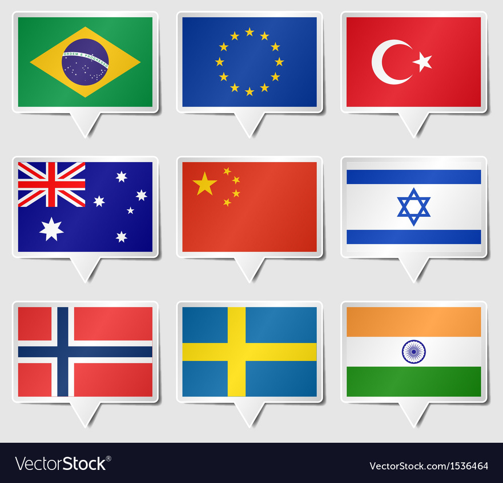Set of flags as speech rectangle stickers vector | Price: 1 Credit (USD $1)