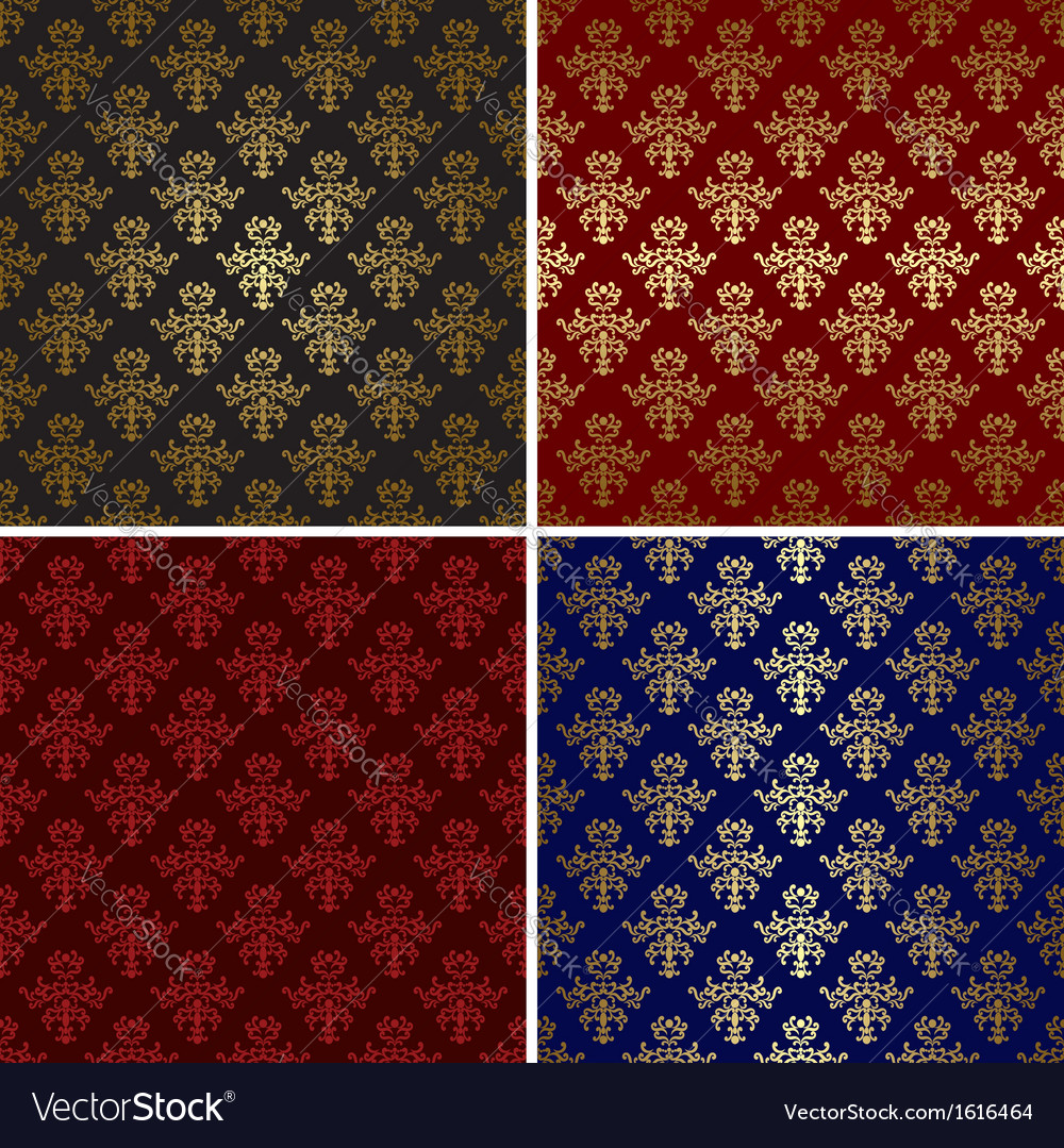 Set of vintage patterns with gold tracery vector | Price: 1 Credit (USD $1)