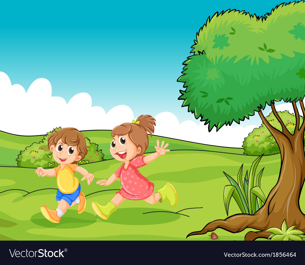 Two adorable little kids playing at the hilltop vector | Price: 3 Credit (USD $3)