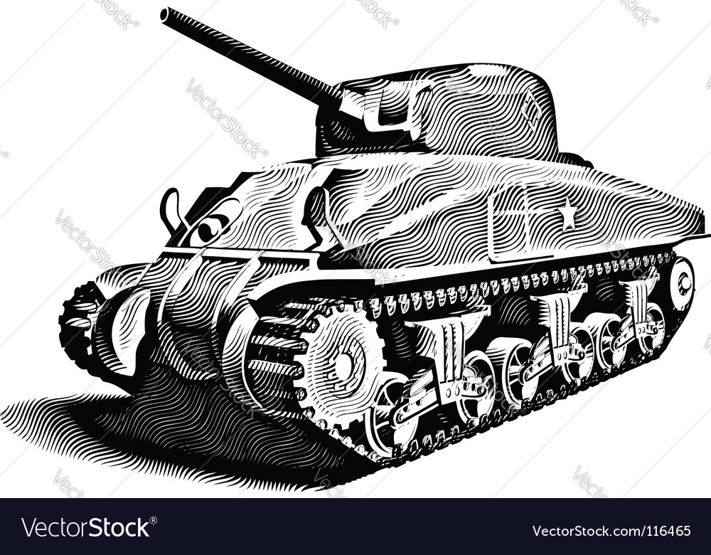 American tank engraving vector | Price: 1 Credit (USD $1)