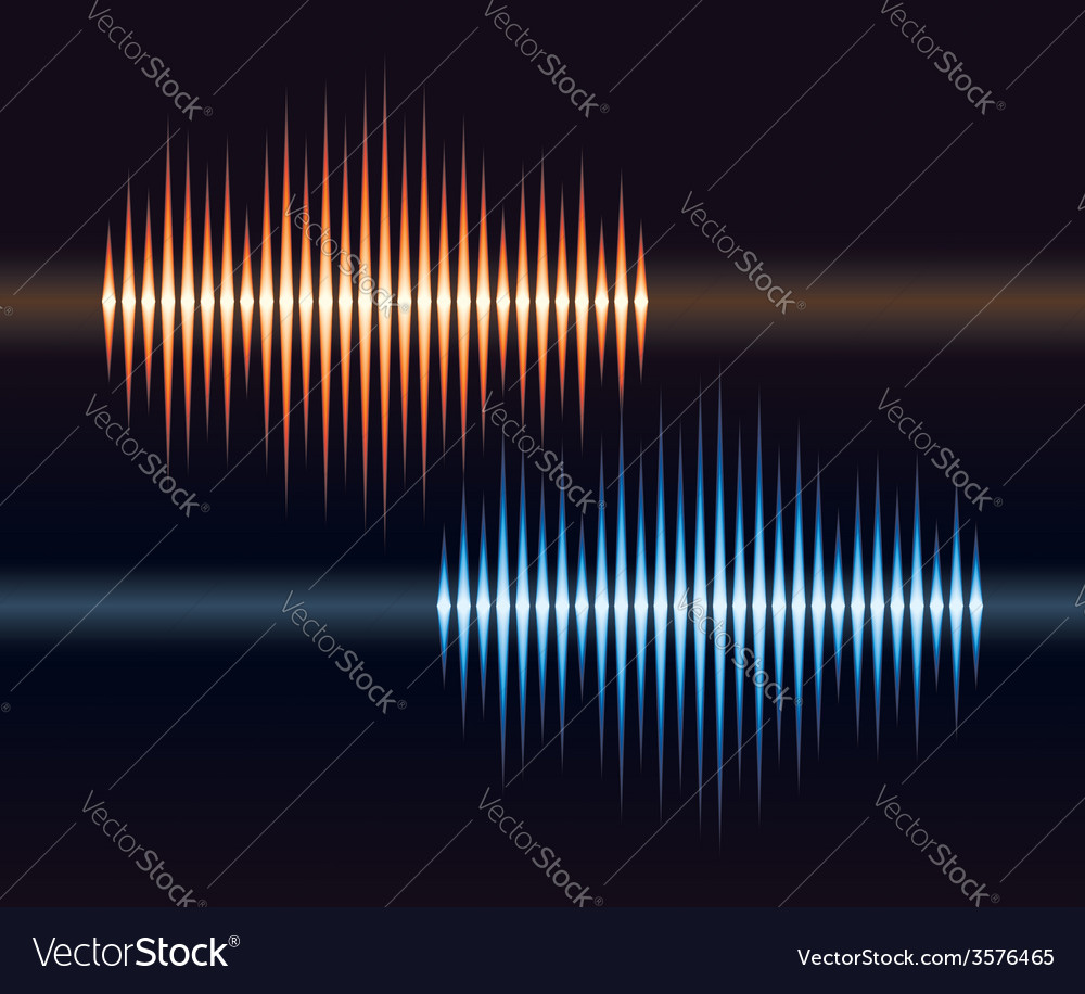 Blue and orange stereo waveform vector | Price: 1 Credit (USD $1)