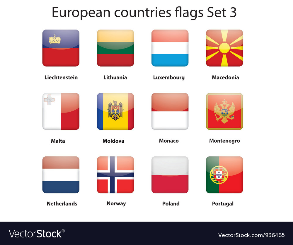 European countries flags set 3 vector | Price: 1 Credit (USD $1)