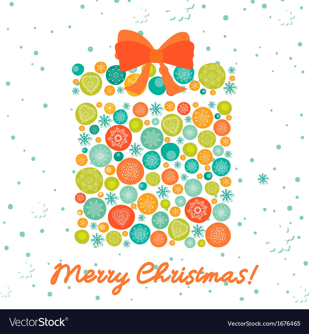 Greeting card with christmas gift vector | Price: 1 Credit (USD $1)