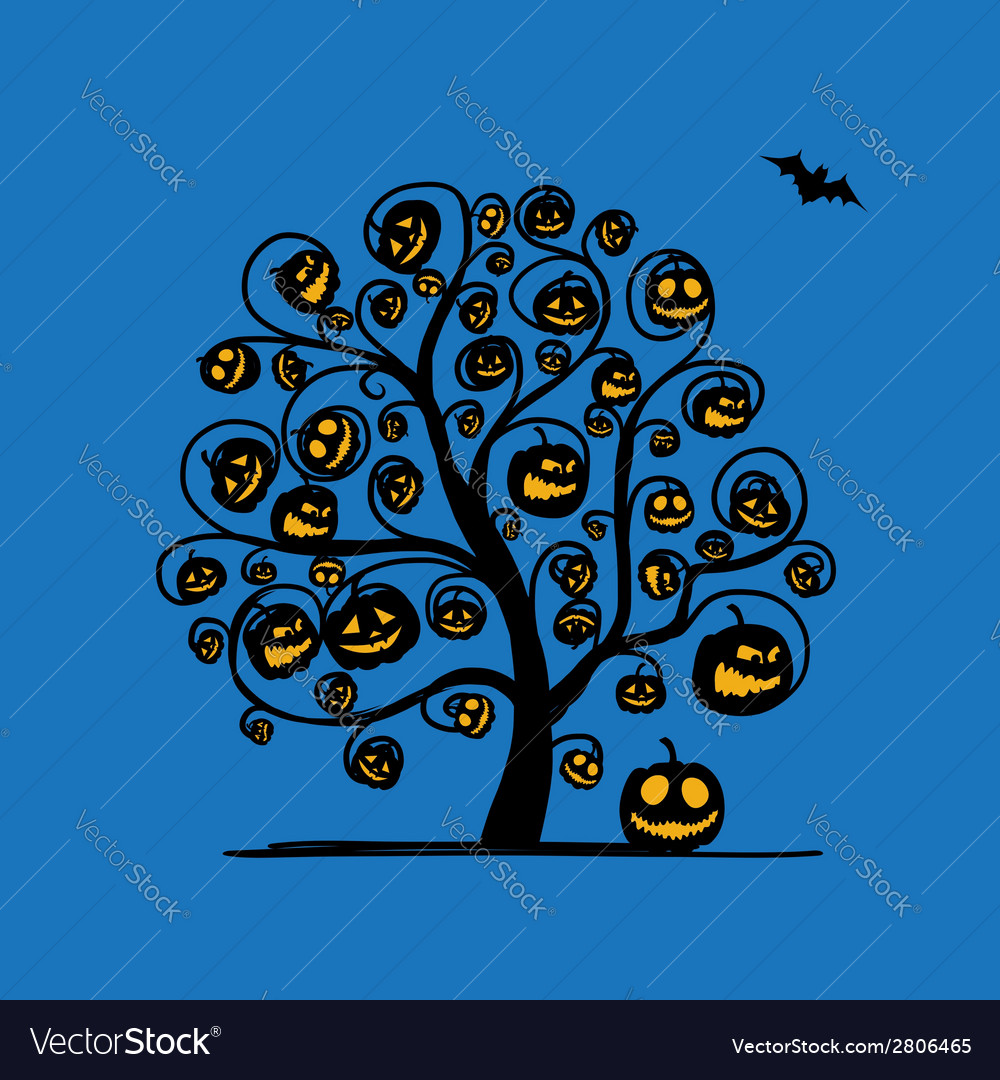 Halloween tree with pumpkins sketch for your vector | Price: 1 Credit (USD $1)