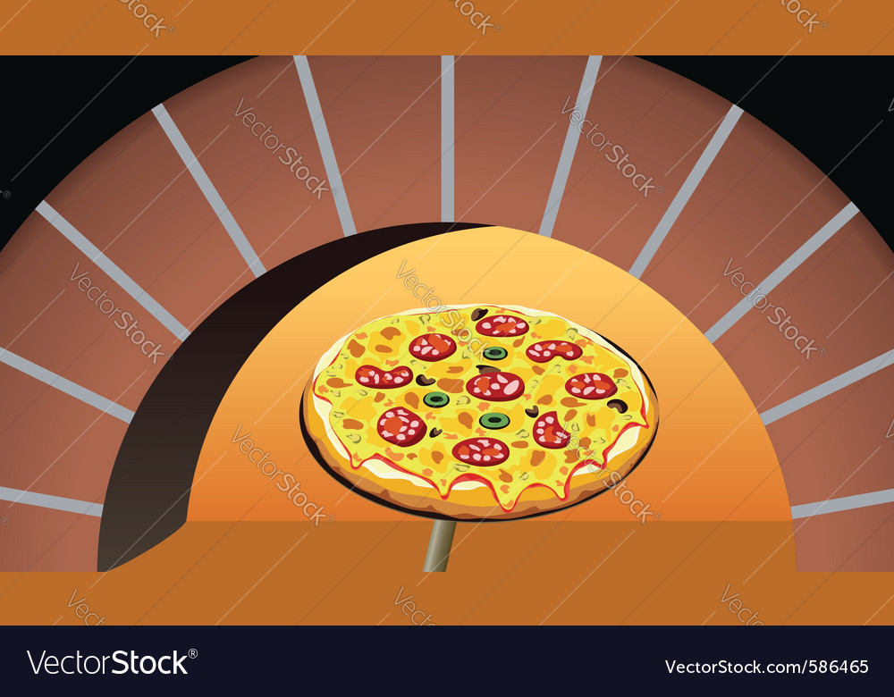 Pizza in oven vector | Price: 1 Credit (USD $1)