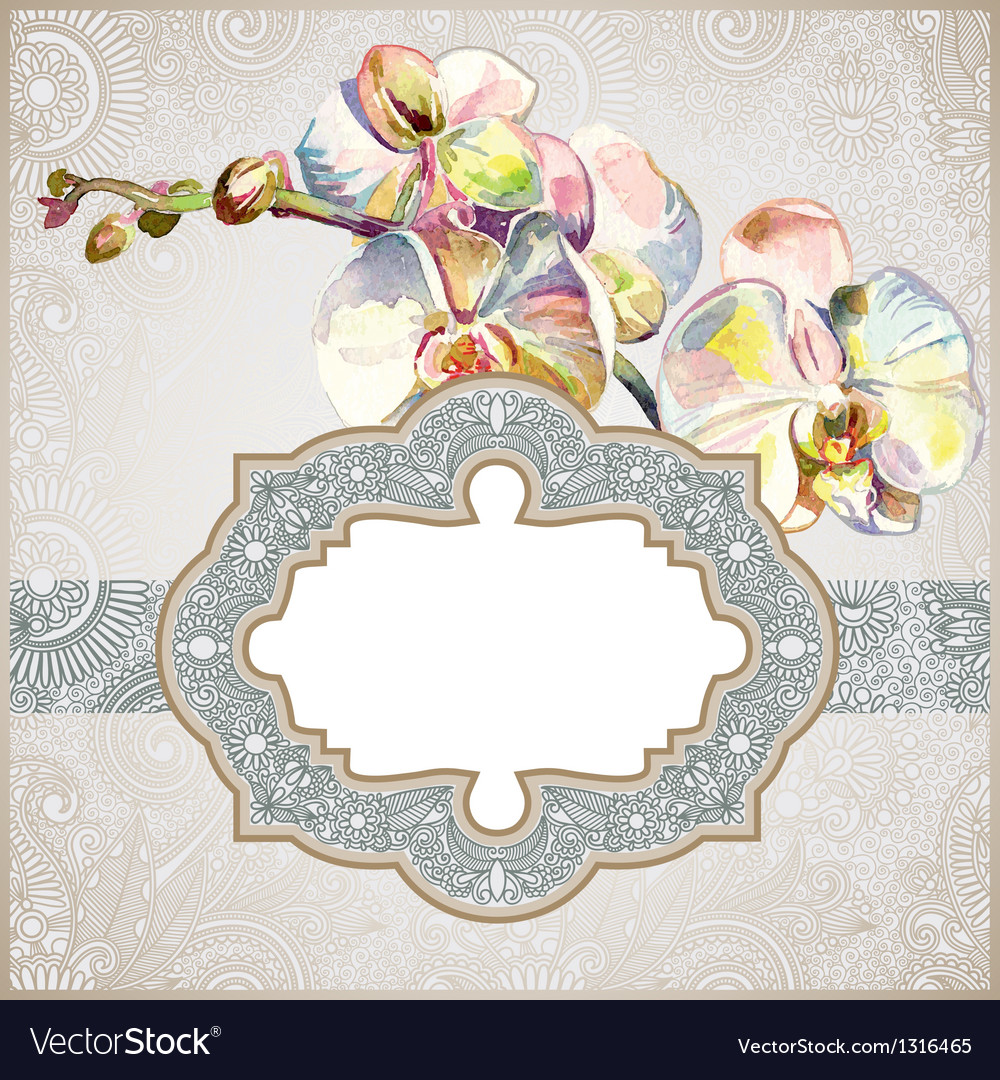 Vintage template with watercolor orchid flower vector | Price: 1 Credit (USD $1)
