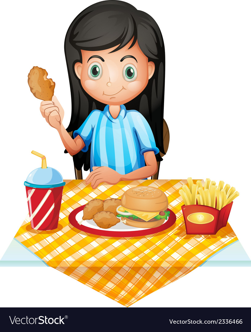 A girl eating vector   Price: 1 Credit (USD $1)