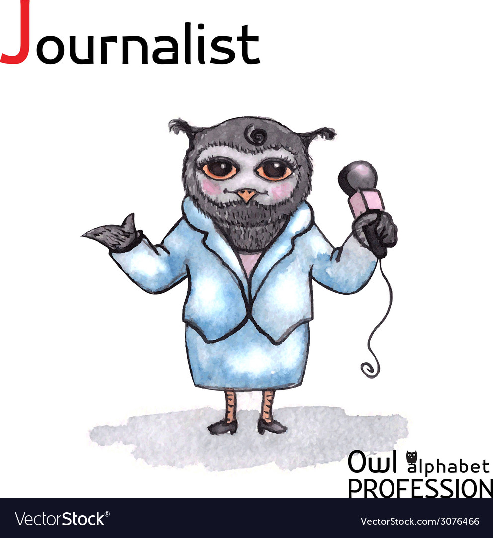 Alphabet professions owl letter j - journalist vector | Price: 1 Credit (USD $1)