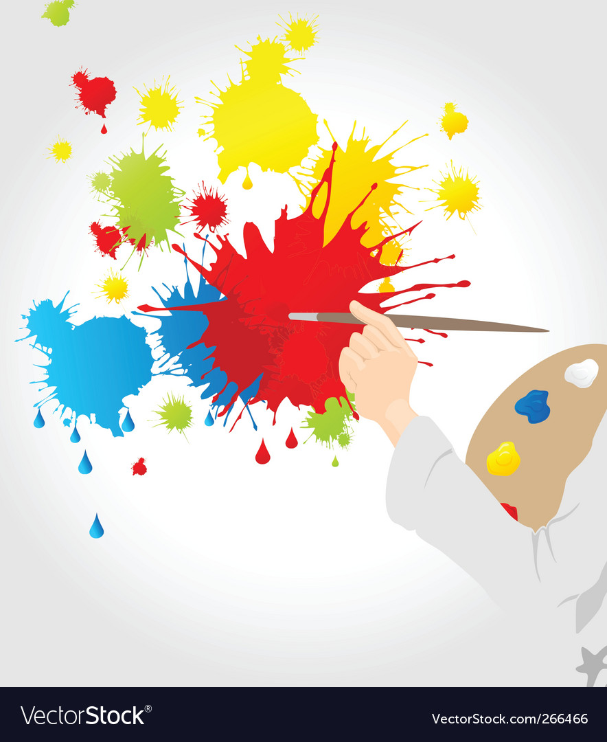 Artist with paint splats vector | Price: 1 Credit (USD $1)