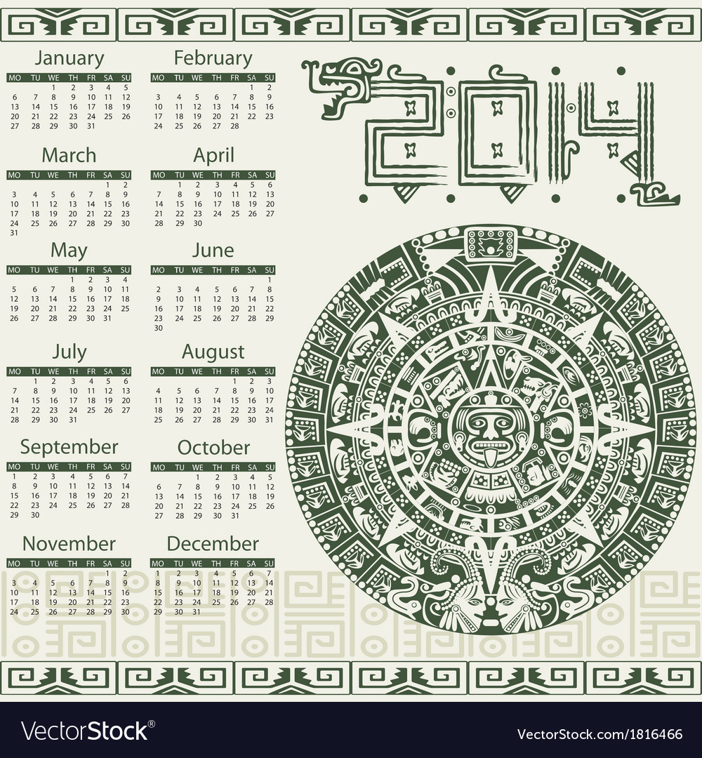 Calendar 2014 in mayan style vector | Price: 1 Credit (USD $1)