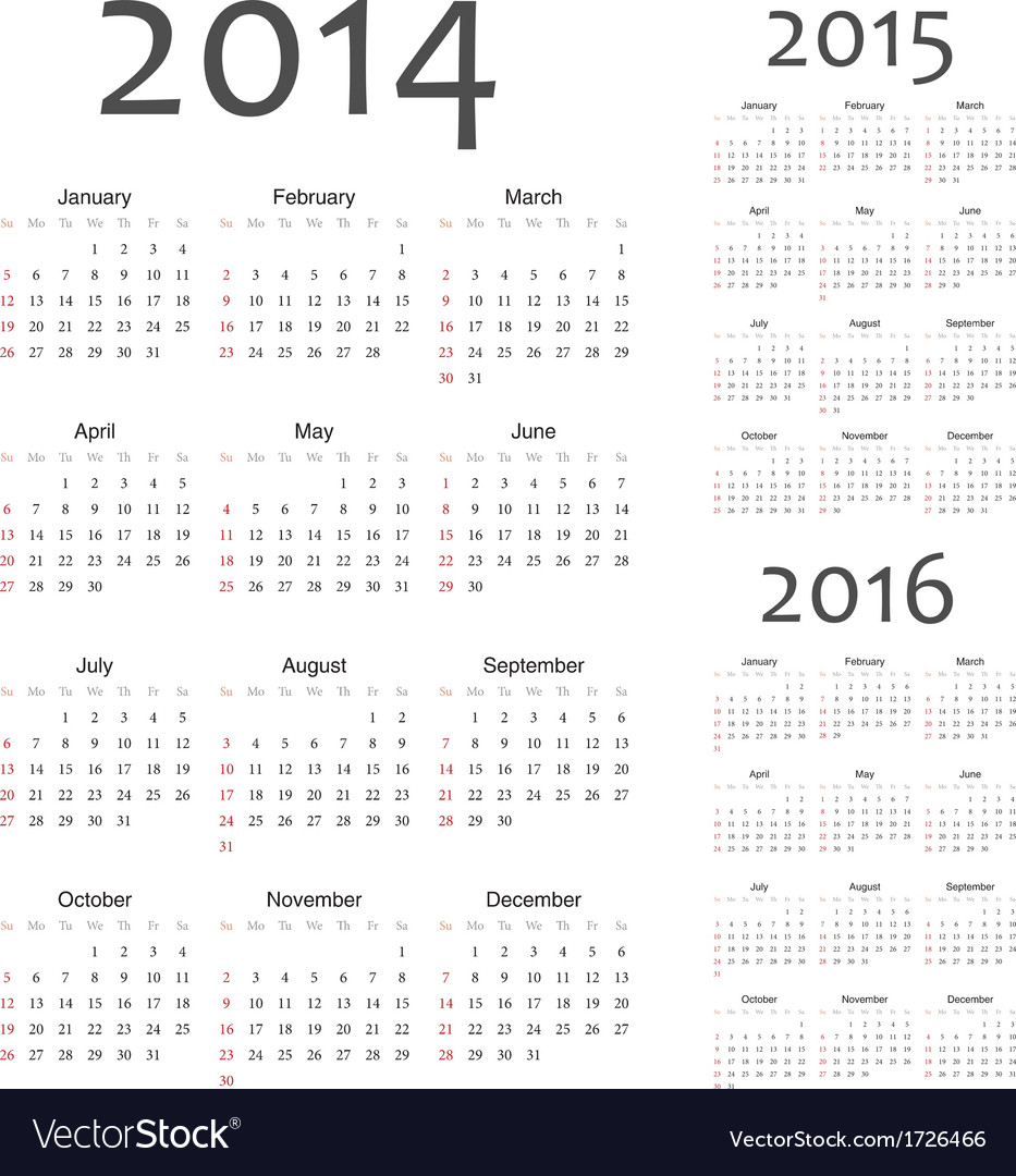 European 2014 2015 2016 calendars vector | Price: 1 Credit (USD $1)