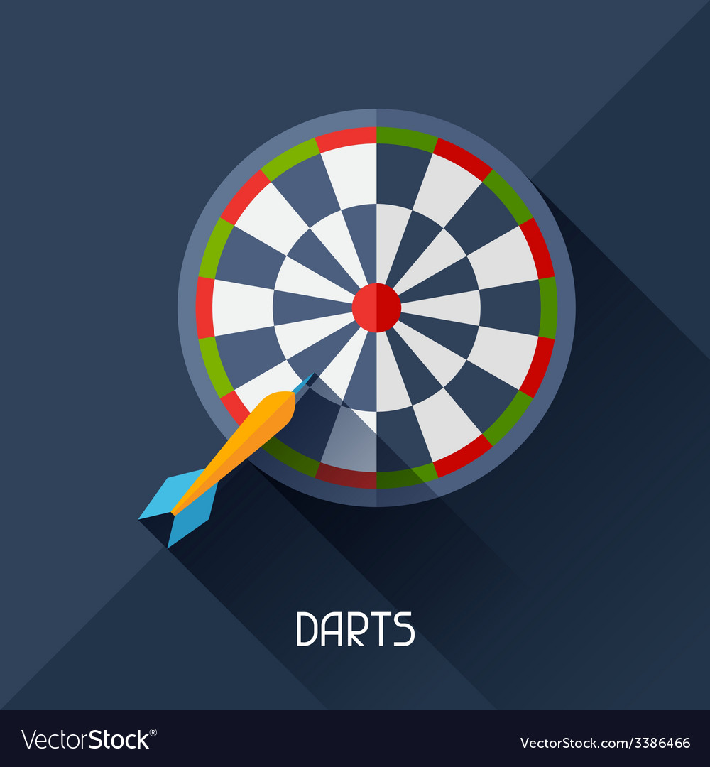 Game with darts in flat design style vector | Price: 1 Credit (USD $1)