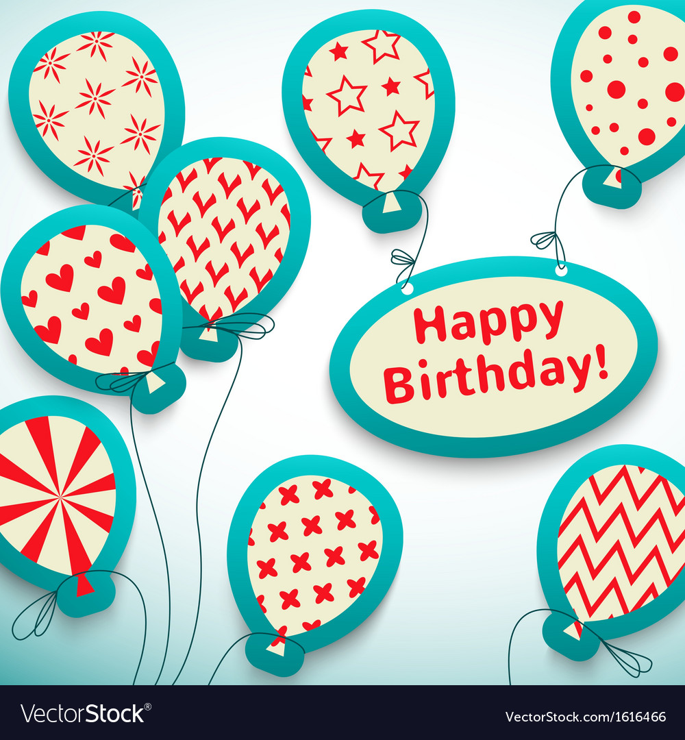 Happy birthday retro postcard with balloons vector | Price: 1 Credit (USD $1)