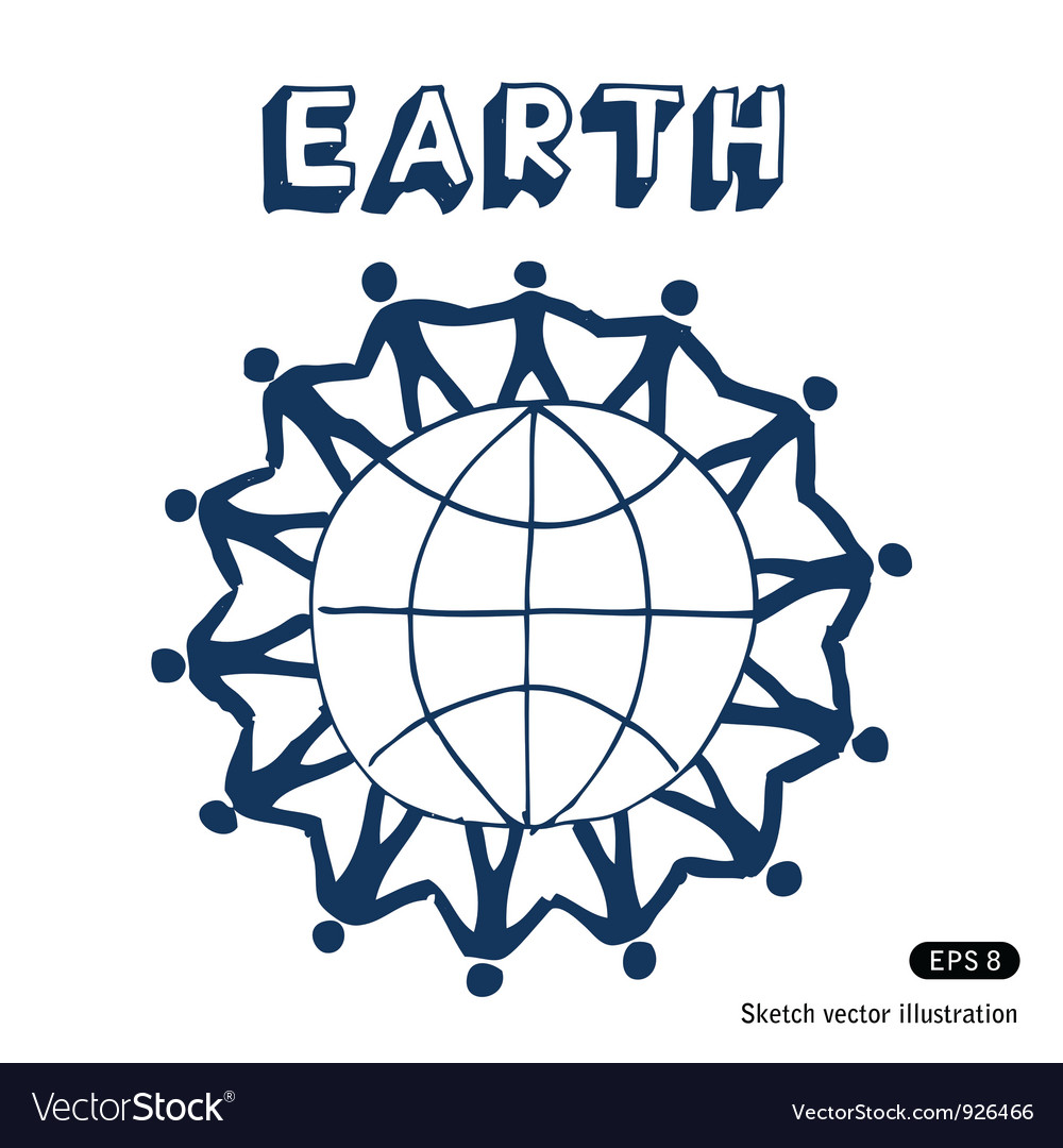 People standing together on earth vector | Price: 1 Credit (USD $1)