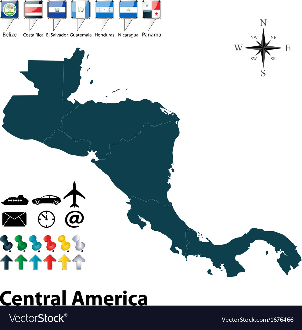 Political map of central america vector | Price: 1 Credit (USD $1)