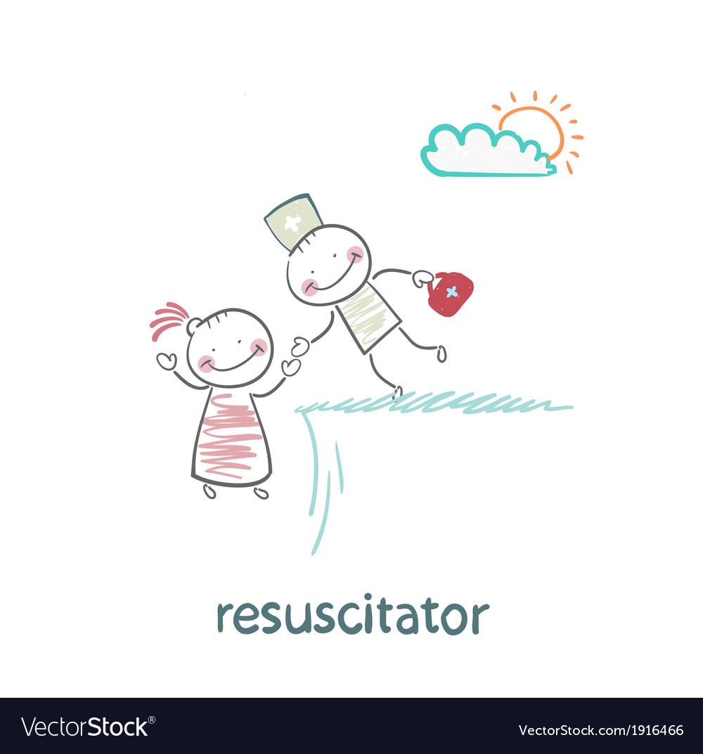 Resuscitator holding the hand of a patient from vector | Price: 1 Credit (USD $1)