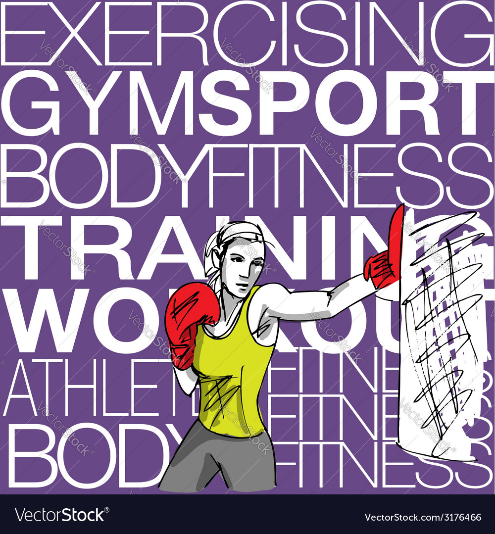 Woman with boxing gloves at workout at gym vector | Price: 1 Credit (USD $1)